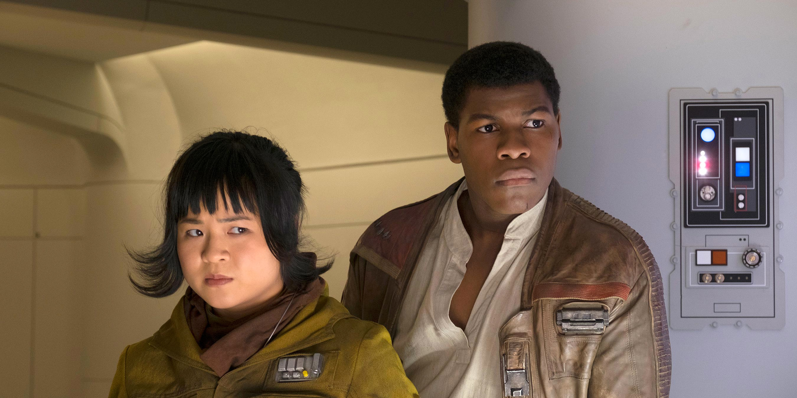 Kelly Marie Tran as Rose Tico and John Boyega as Finn in Star Wars The Last Jedi