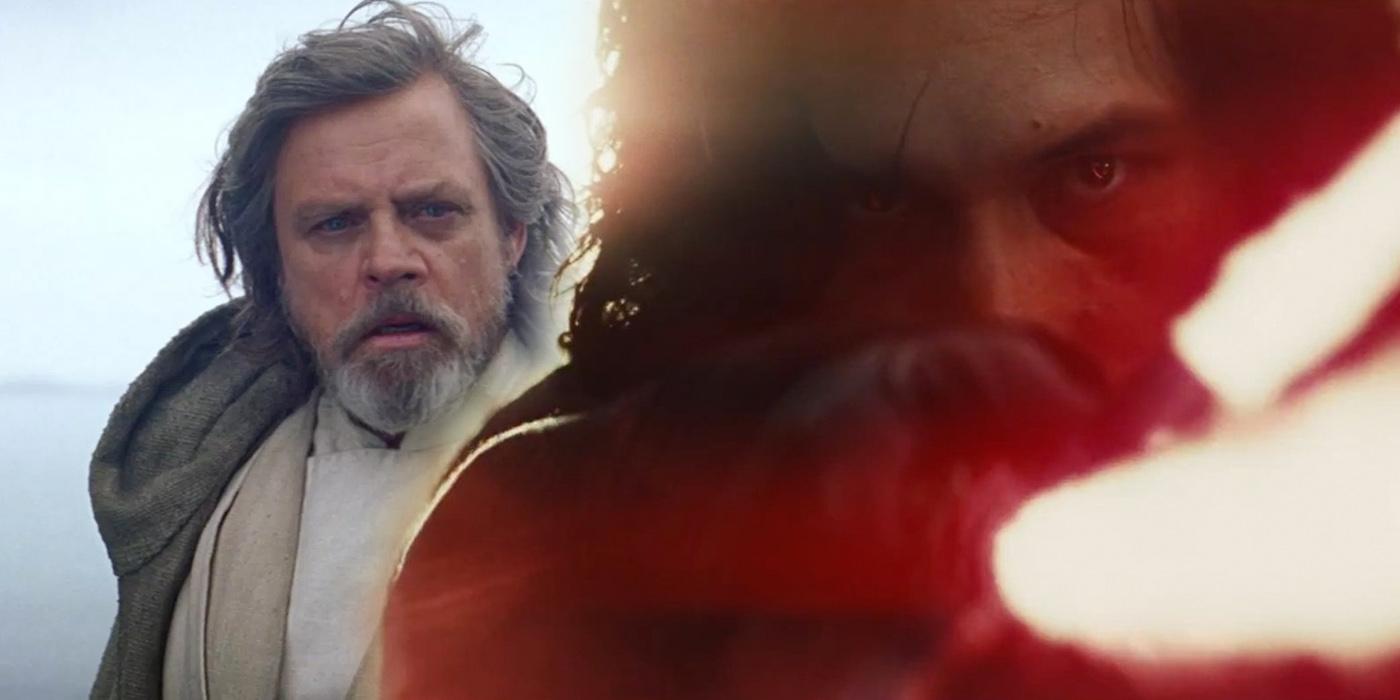 Luke Skywalekr and Kylo Ren in Star Wars The Last Jedi