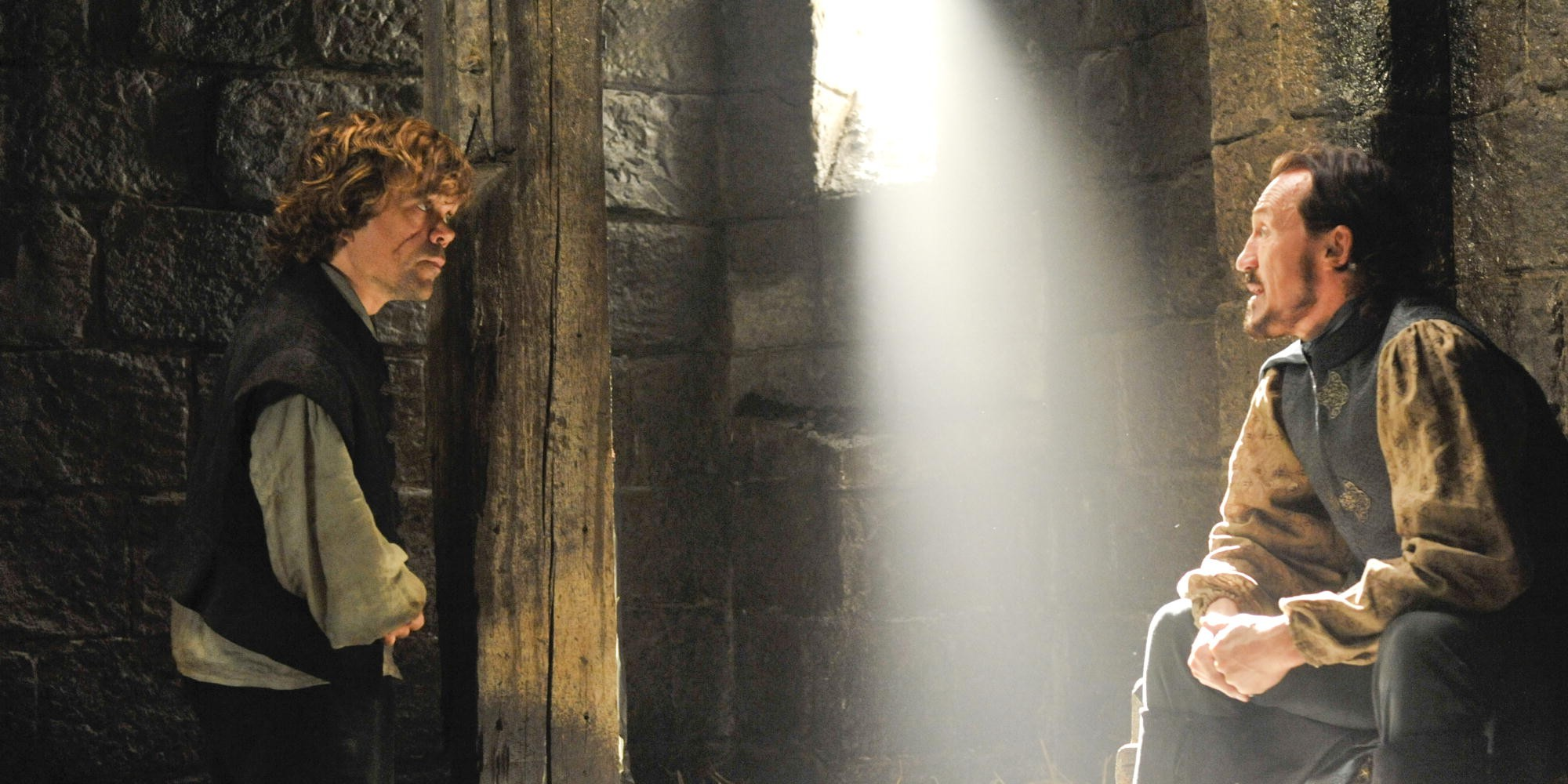 Peter Dinklage as Tyrion Lannister and Jerome Flynn as Bronn in Game of Thrones