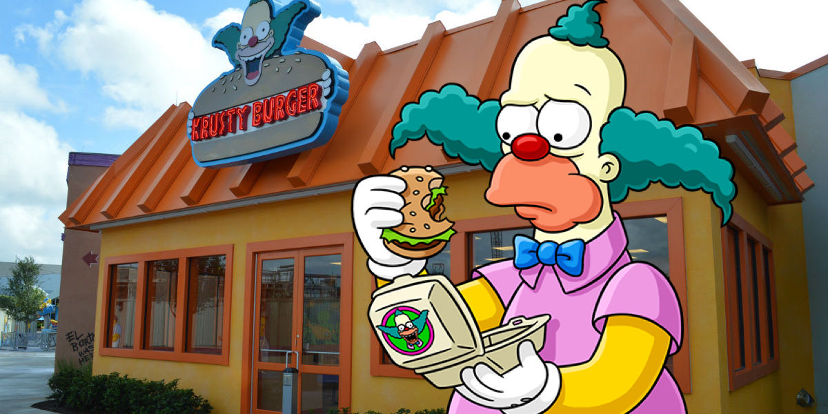 [Top 10] - Melhores Personagens de OS Simpsons Simpsons-Krusty-the-Clown-eating-at-a-real-life-Krusty-Burger-restaurant