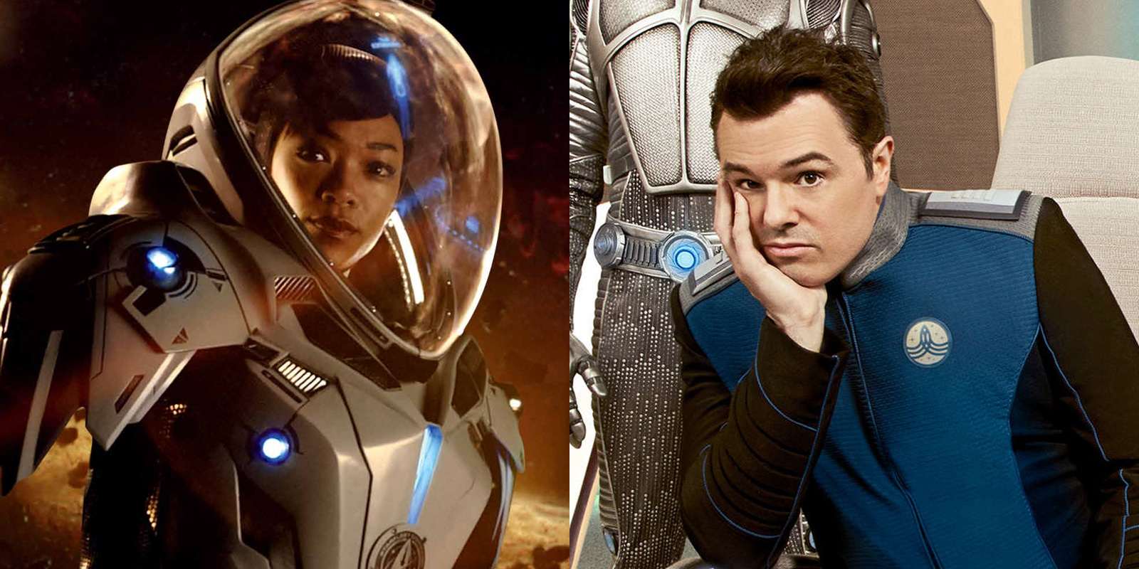 Sonequa Martin-Green in Star Trek: Discovery and Seth MacFarlane in The Orville