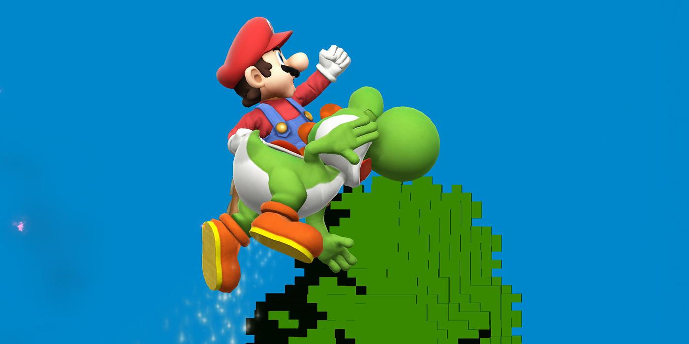 Mario hits Yoshi
