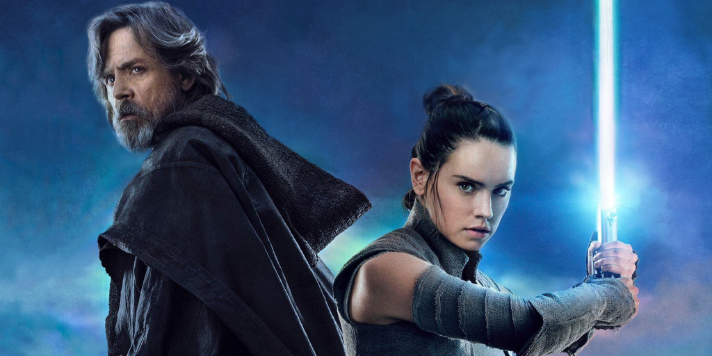 Mark Hamill as Luke and Daisy Ridley as Rey in Star Wars The Last Jedi