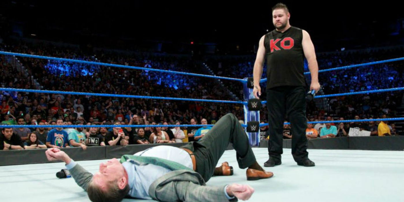 Kevin Owens headbutts Vince McMahon