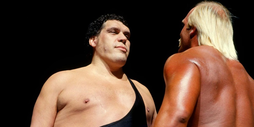 Andre the Giant versus Hulk Hogan in WWF