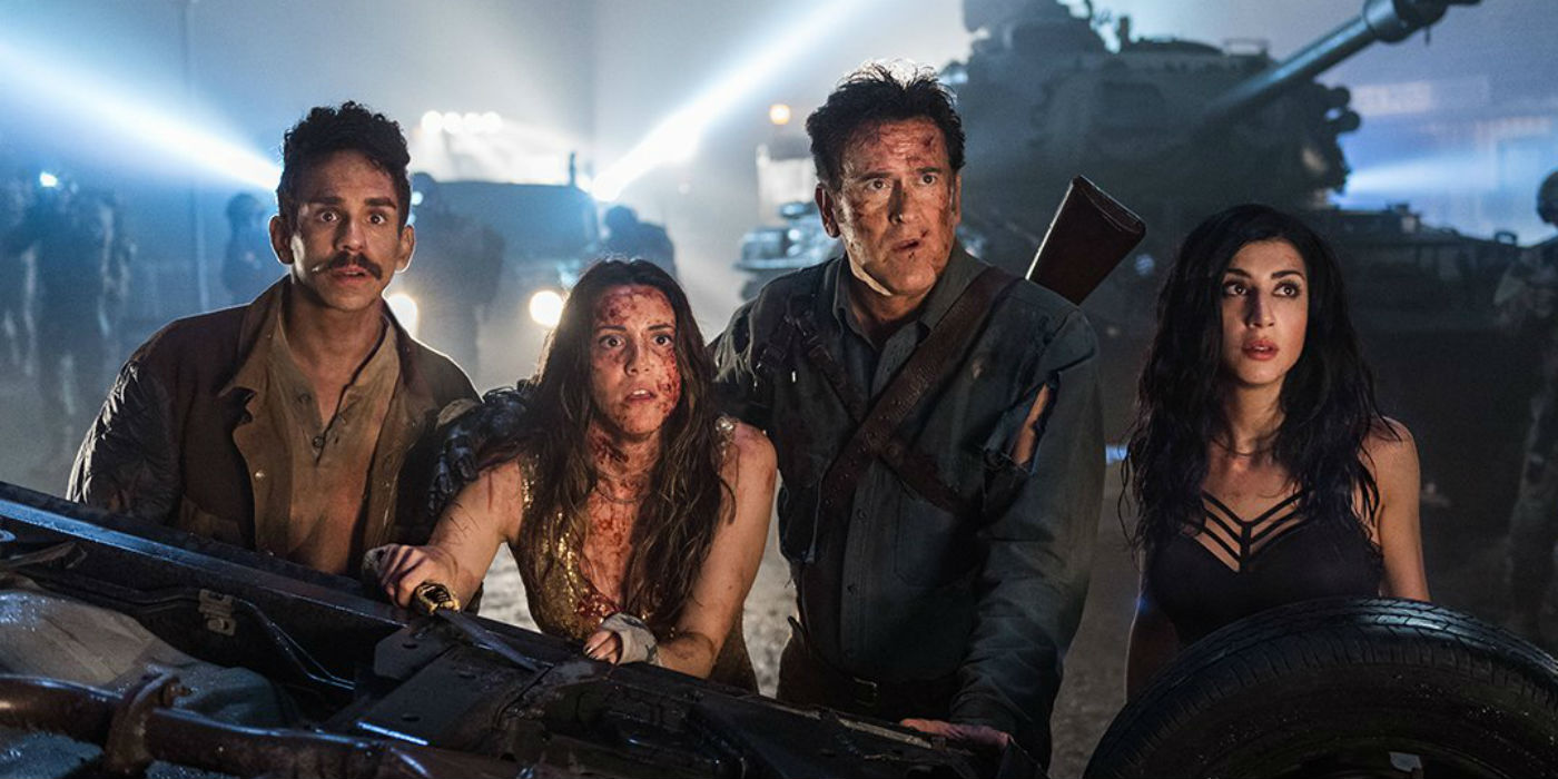 Ash vs Evil Dead Season 3 Ray Santiago, Arielle Carver-O'Neill, Bruce Campbell and Dana DeLorenzo (photo STARZ)