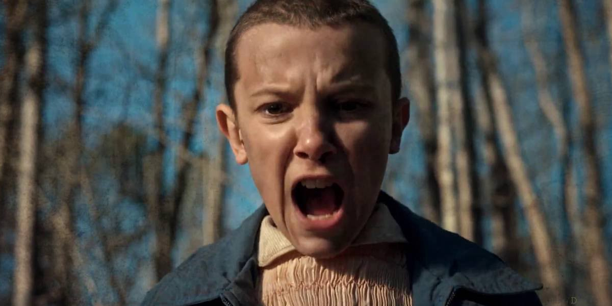 Eleven screaming in Stranger Things