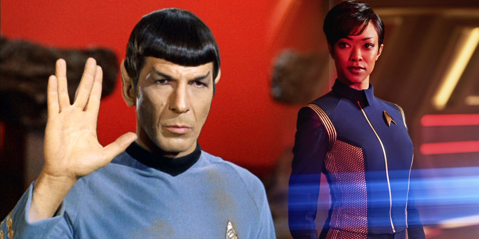 Leonard Nimoy and Sonequa Martin-Green Star Trek