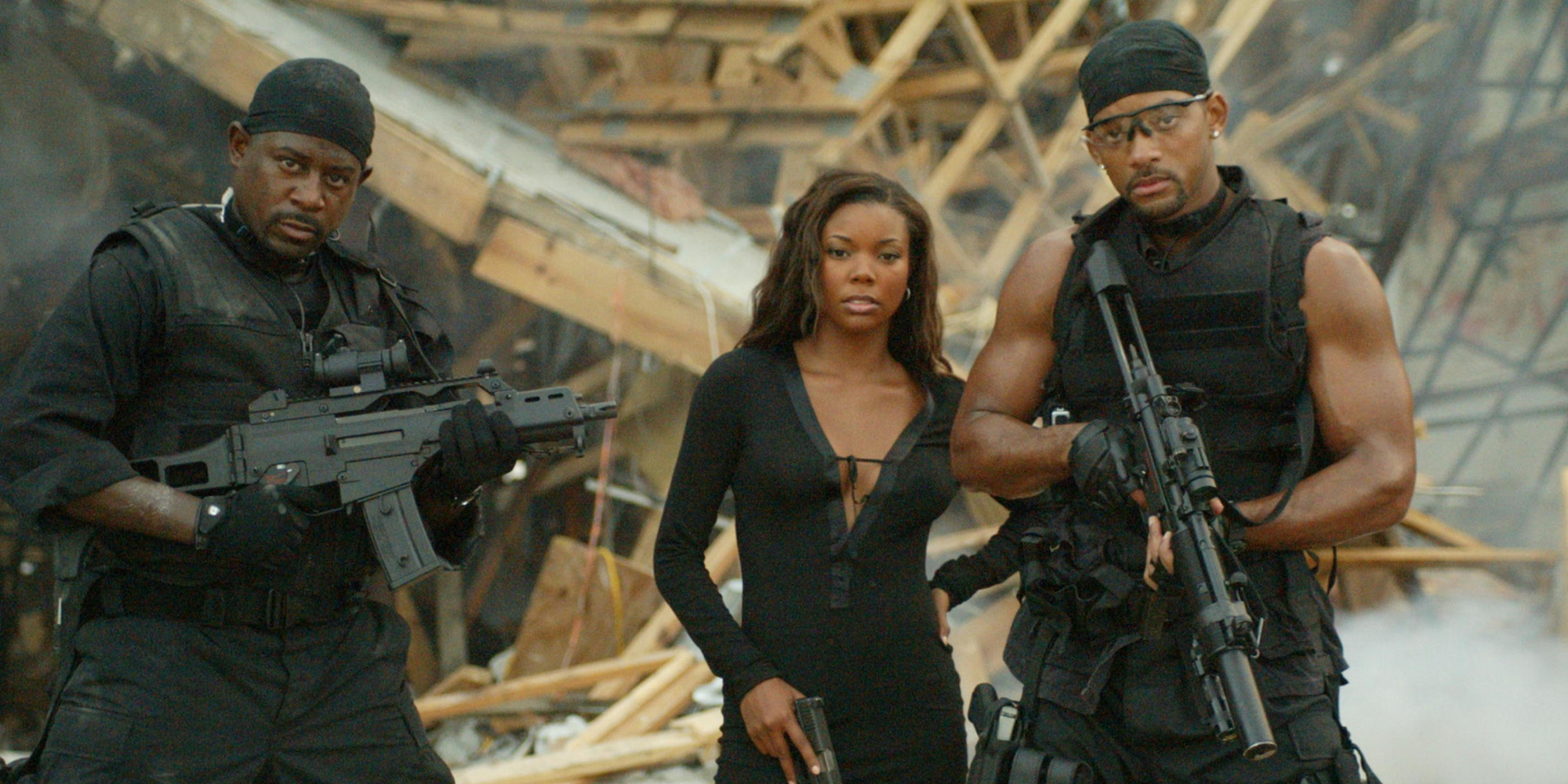 Martin Lawrence Gabrielle Union and Will Smith in Bad Boys 2