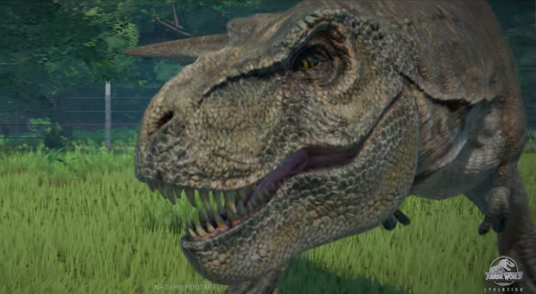 Jurassic Park Evolution gameplay footage T-rex