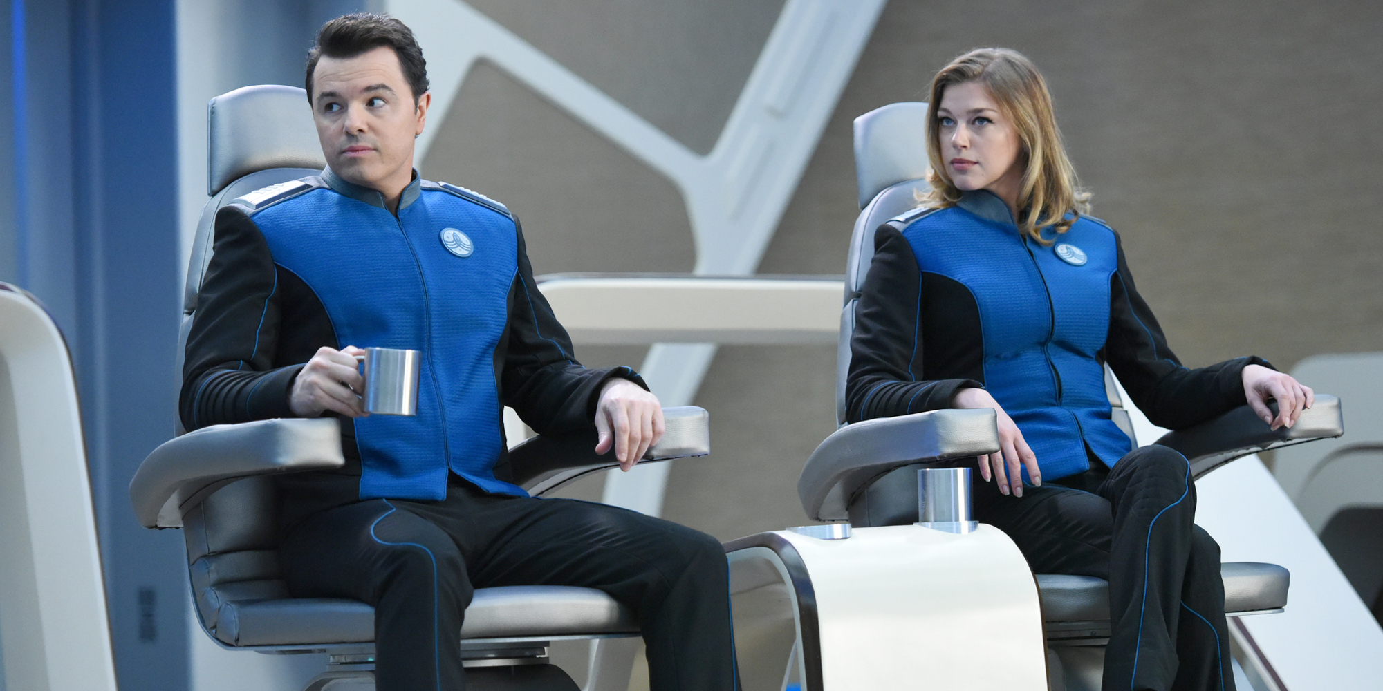 Seth MacFarlane and Adrianne Palicki in The Orville