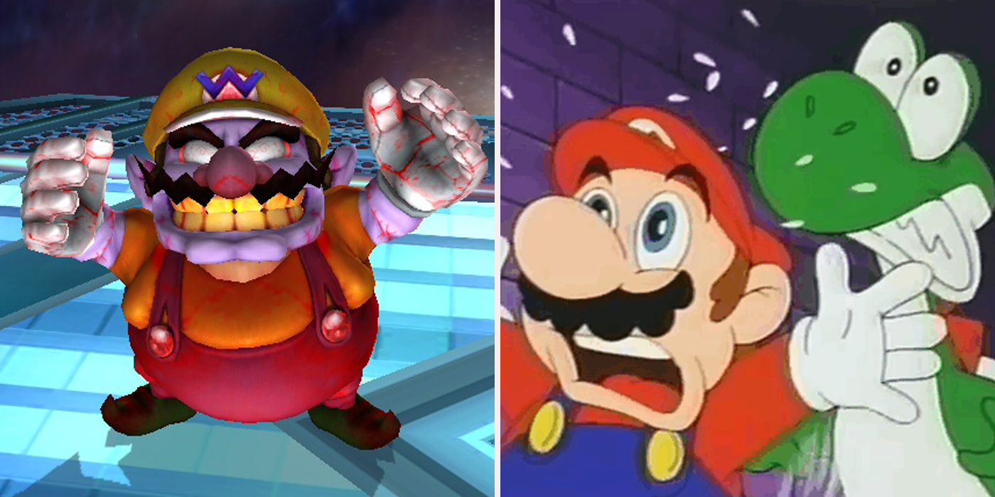 Wario Mario and Yoshi scared 15 Things Wario Can Do That Mario Can't