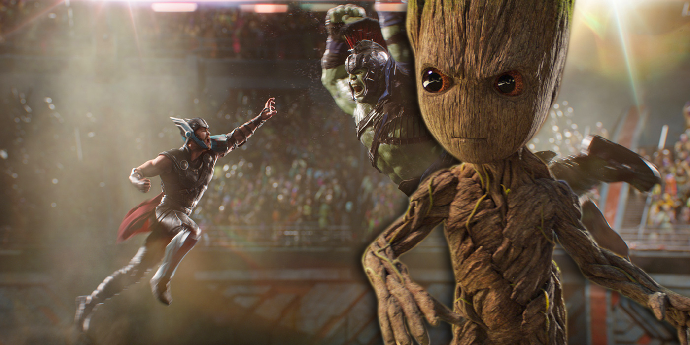 Baby Groot and Thor Ragnarok