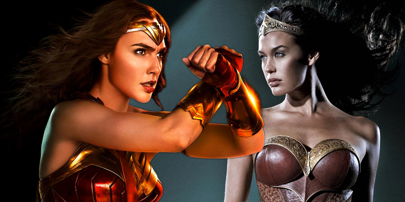 Gal Gadot as Wonder Woman in Justice League and Megan Gale in Mortal