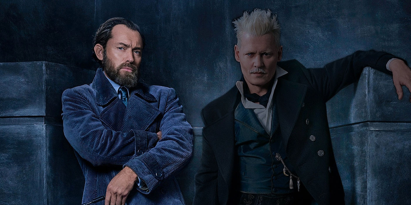 Jude Law as Dumbledore and Johnny Depp as Grindelwald in Fantastic Beasts