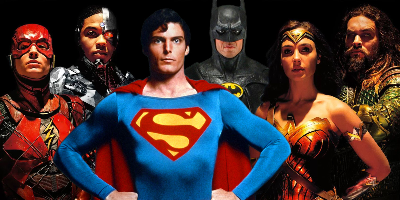 Justice League with Christopher Reeve as Superman and Michael Keaton as Batman