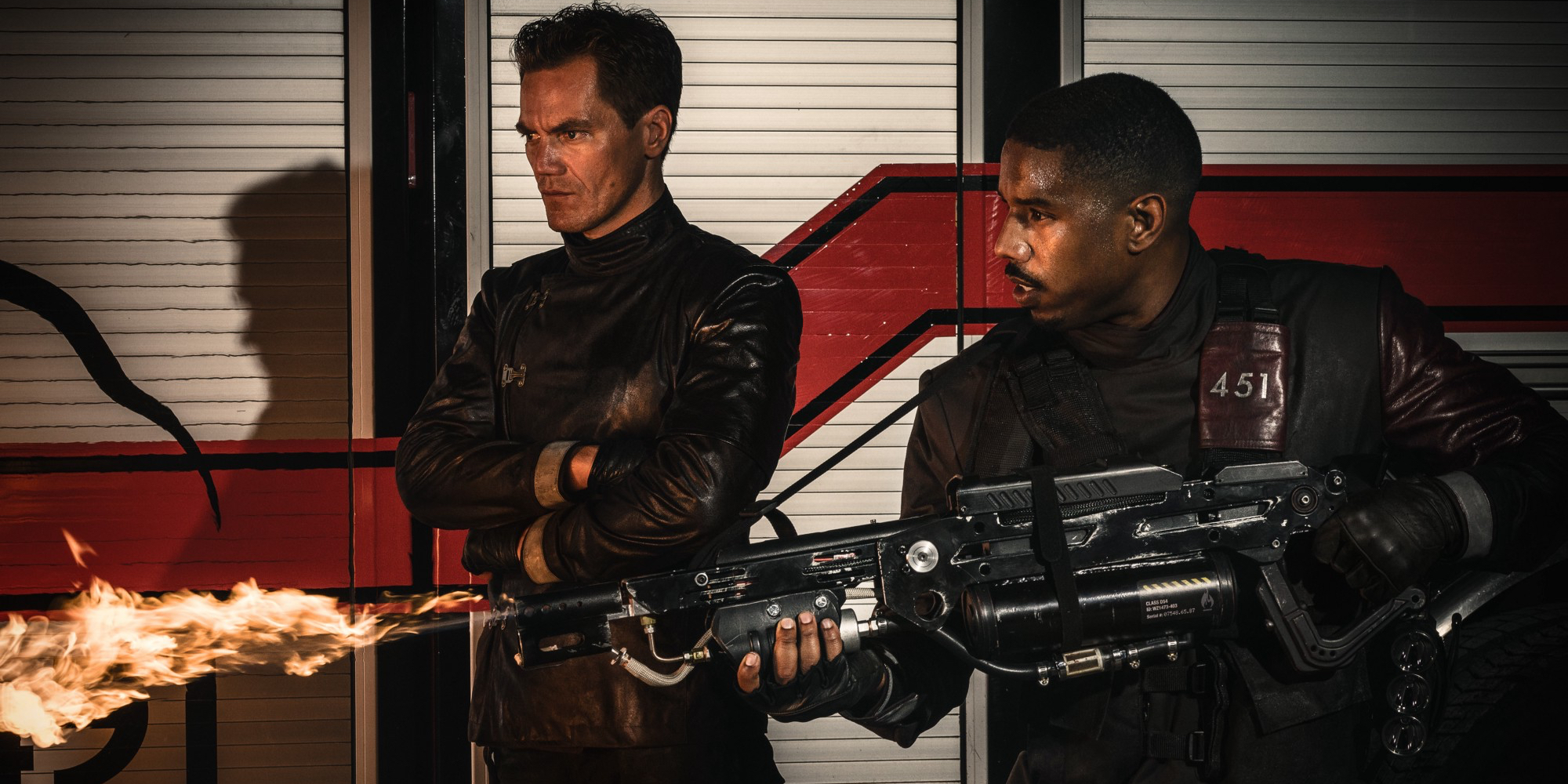 Michael Shannon and Michale B. Jordan in Fahrenheit 451