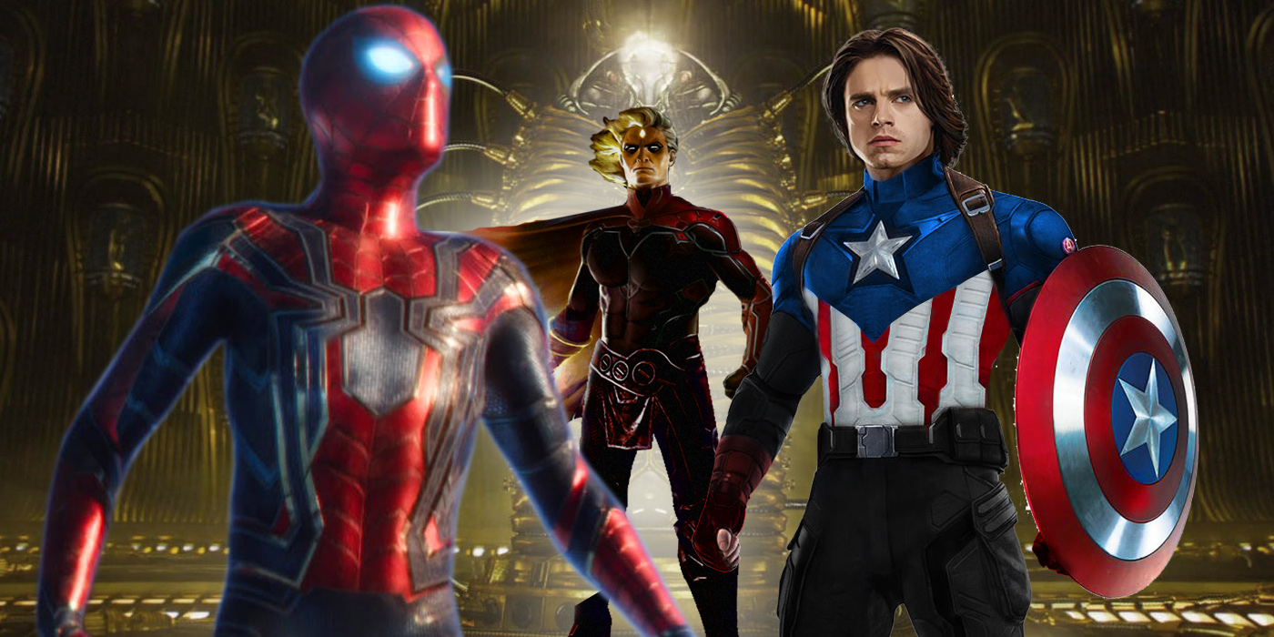 Spider-Man Adam Warlock and Bucky as Captain America