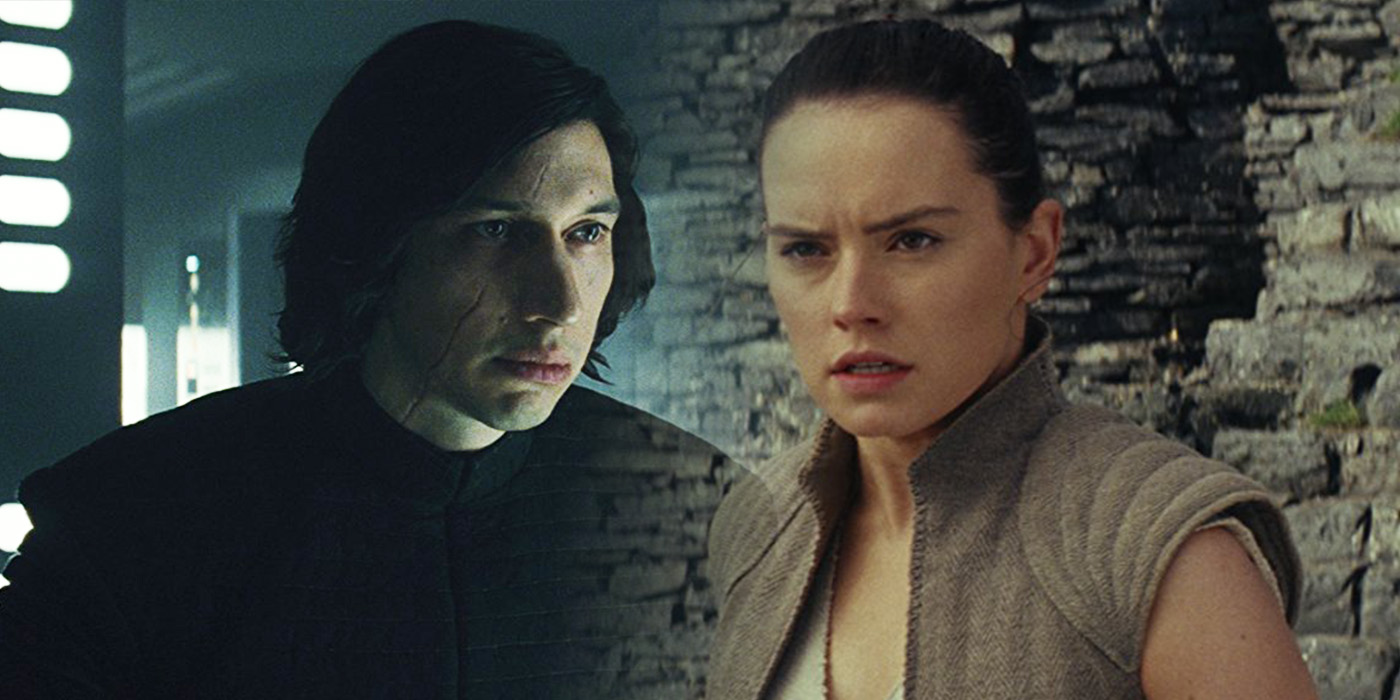 Adam Driver as Kylo Ren and Daisy Ridley as Rey in Star Wars: The Last Jedi
