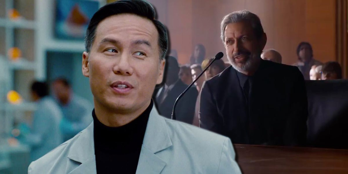 BD Wong as Henry Wu and Jeff Goldblum as Ian Malcolm in Jurassic World