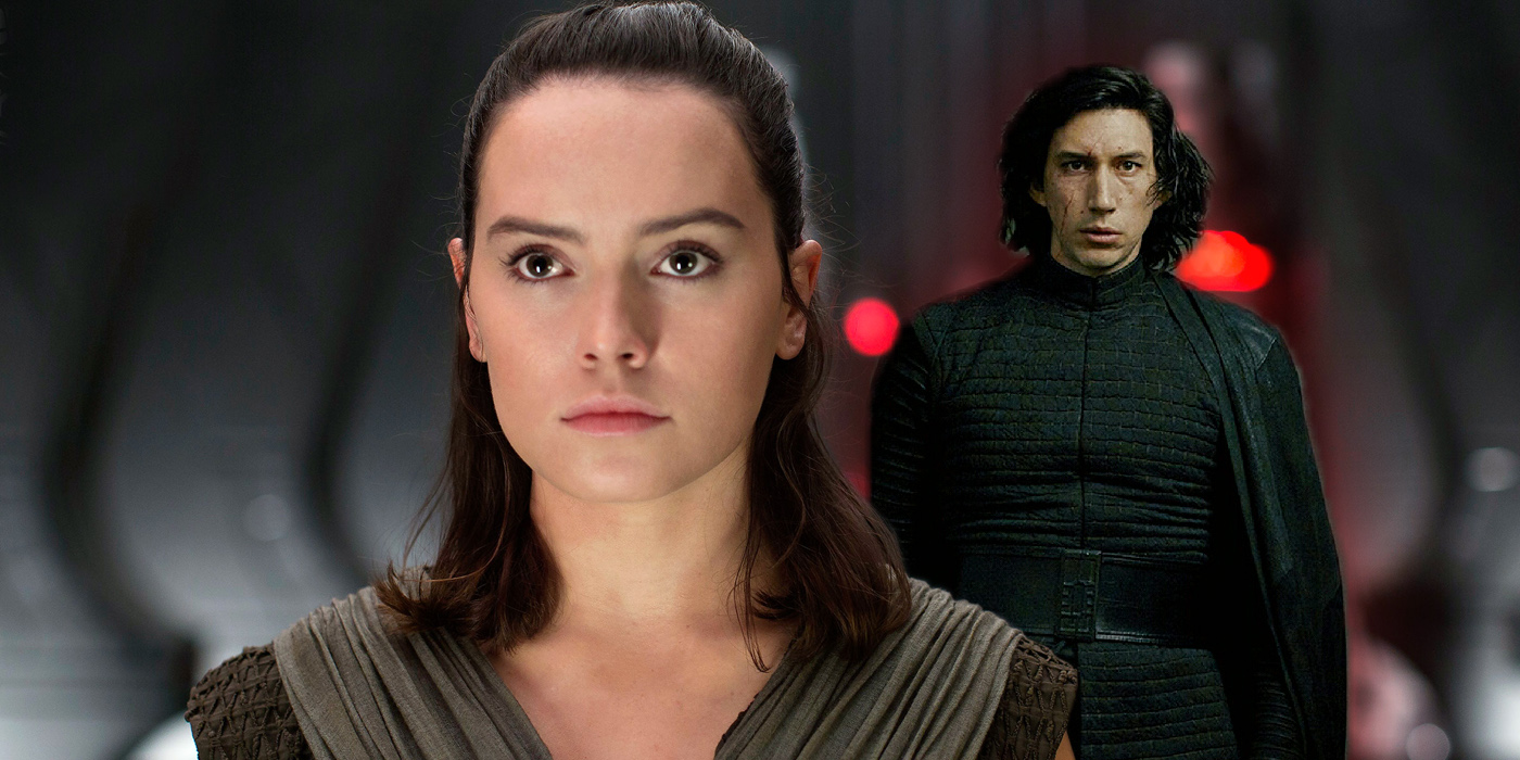 Daisy Ridley as Rey and Adam Driver as Kylo Ren in Star Wars The Last Jedi