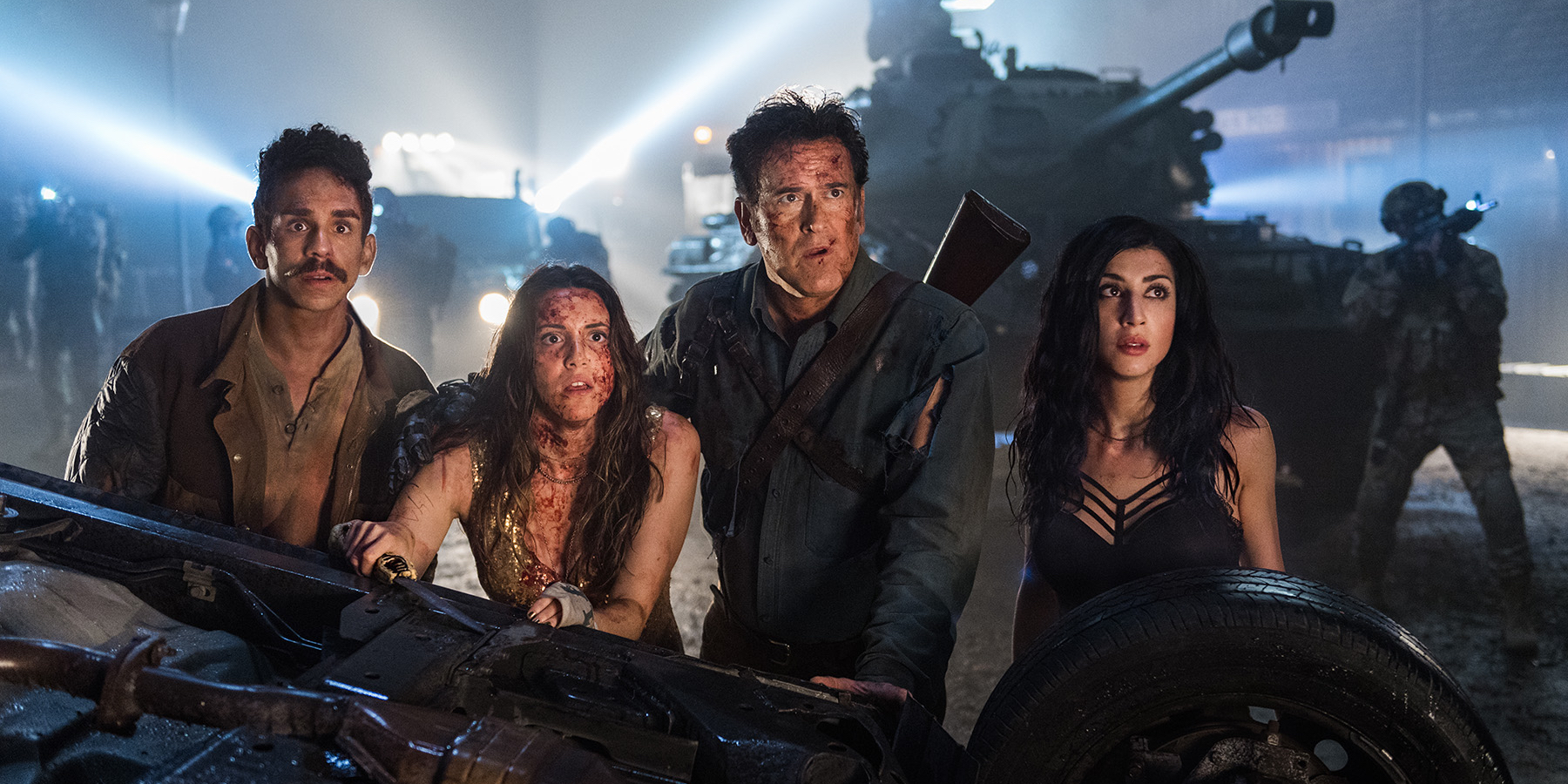 Ray Santiago Bruce Campbell and Dana DeLorenzo in Ash vs. Evil Dead