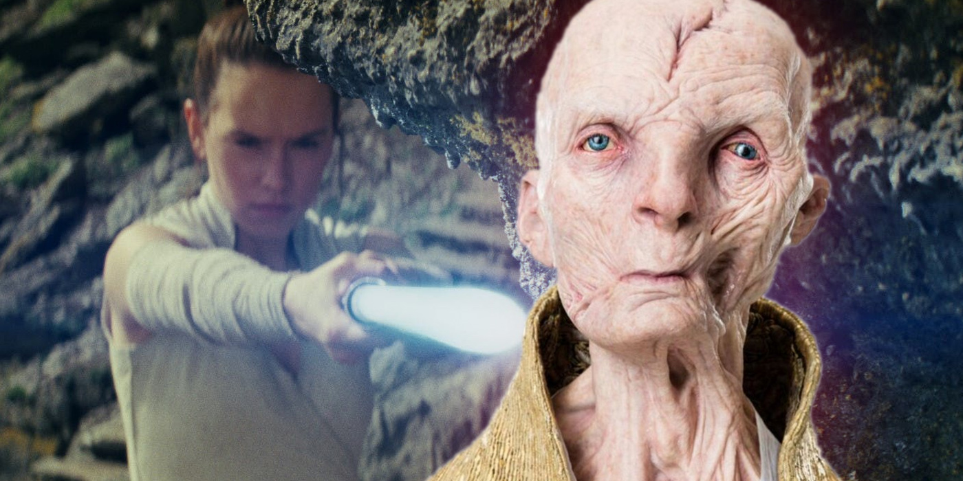 Rey and Snoke in Star Wars The Last Jedi