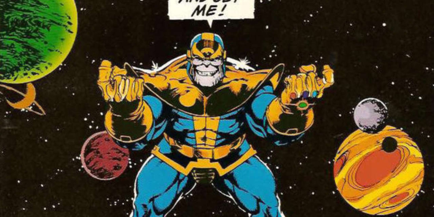 Thanos wearing the Infinity Gauntlet in Marvel Comics