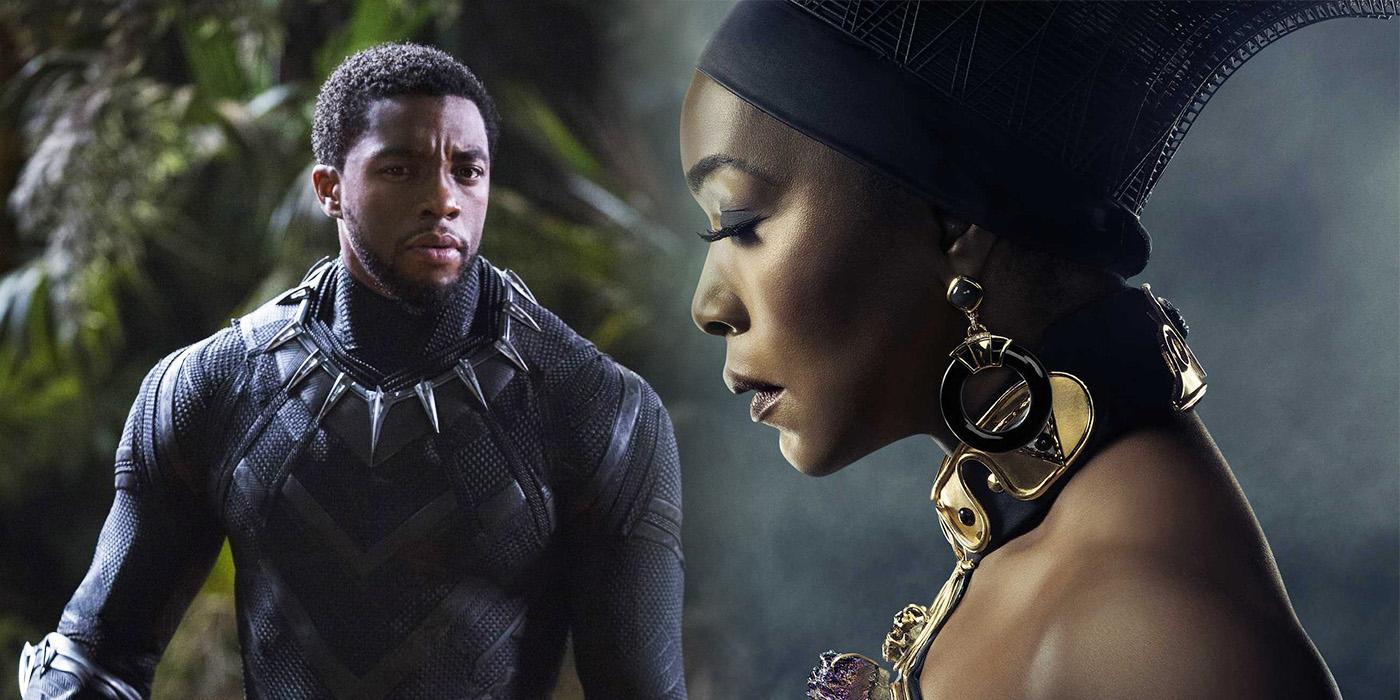 Chadwick Boseman and Angela Bassett in Black Panther
