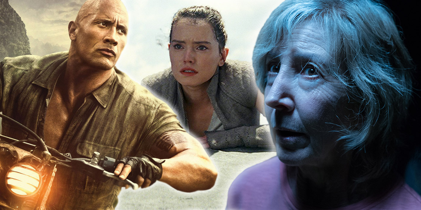 Dwayne Johnson in Jumanji: Welcome to the Jungle, Daisy Ridley in Star Wars: The Last Jedi, and Lin Shaye in Insidious: The Last Key