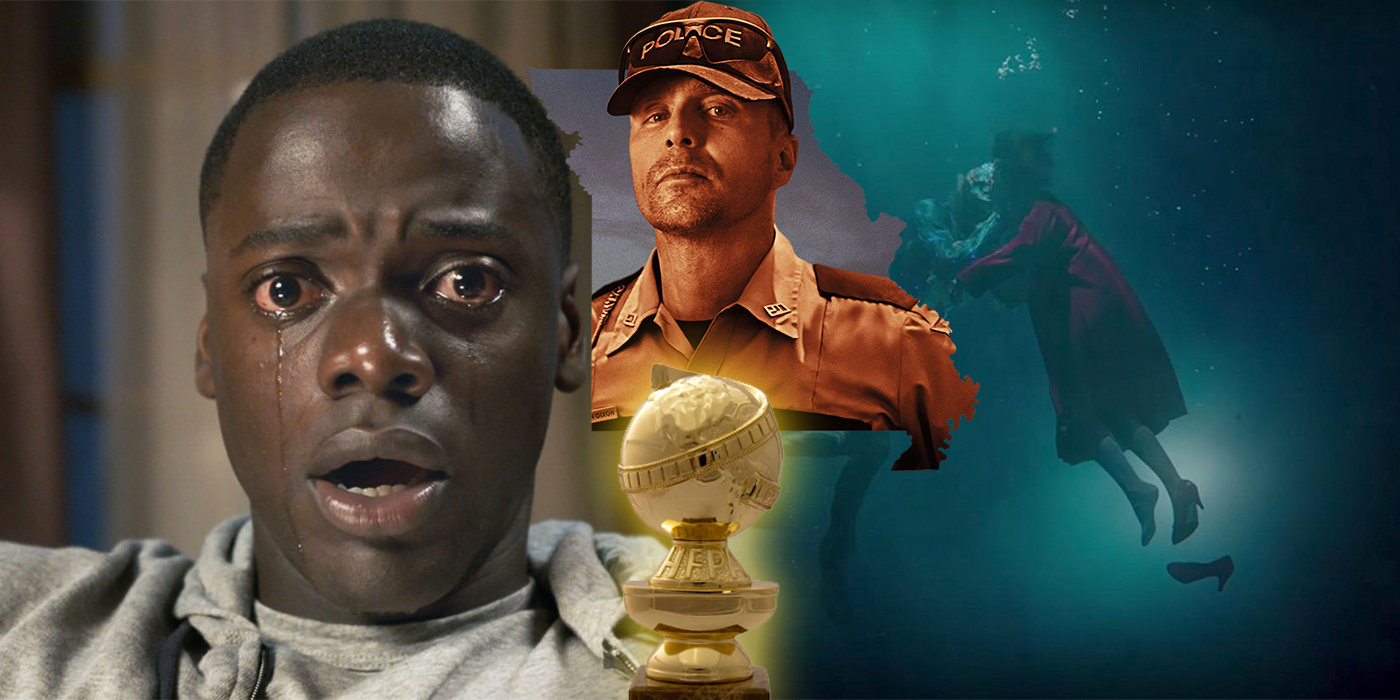 Get Out Three Billboards and Shape of Water at the Golden Globes
