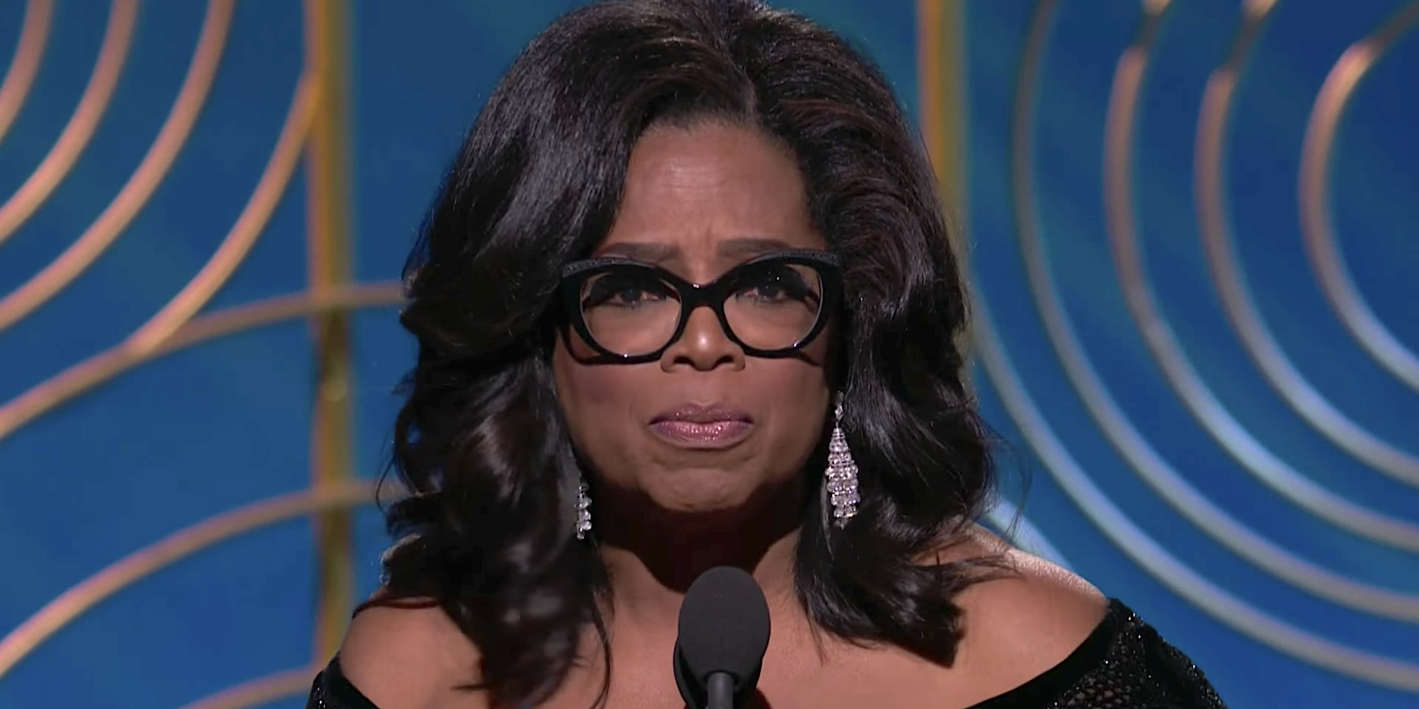 Oprah Winfrey giving a speech at the 2018 Golden Globes
