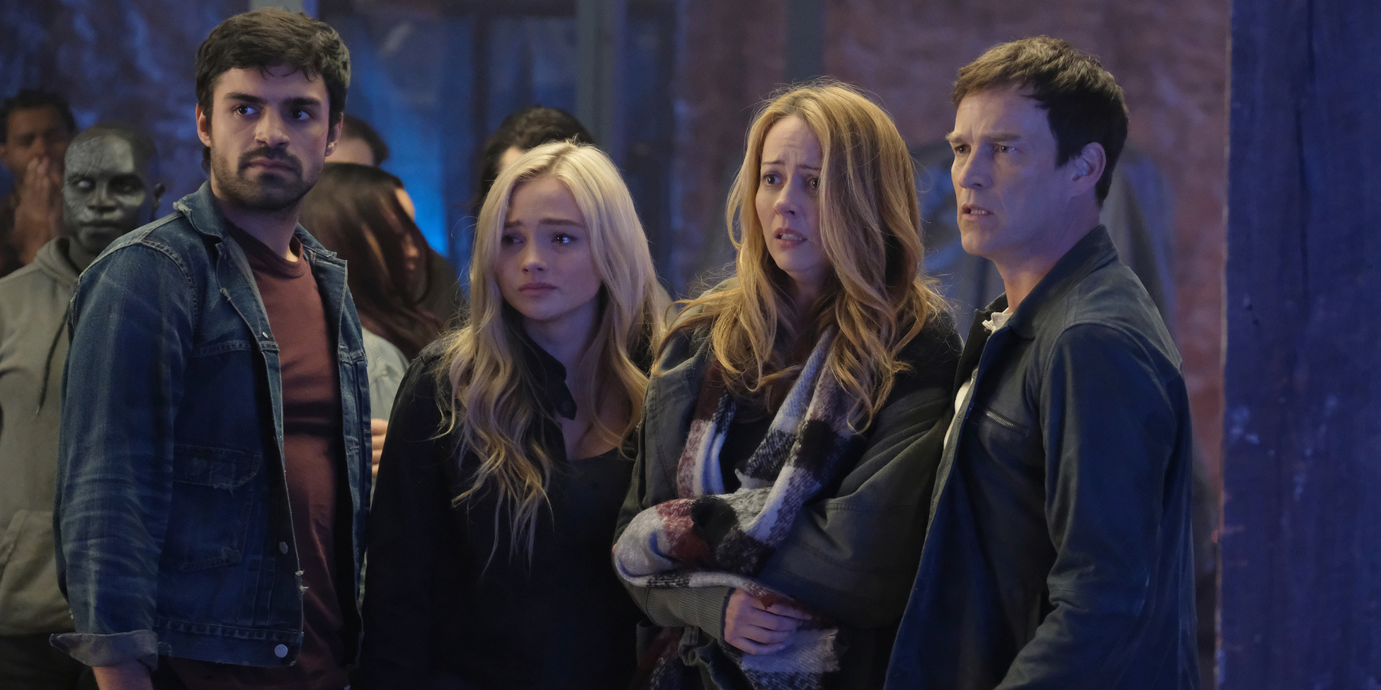 Sean Teale Natalie Alyn Lind Amy Acker and Stephen Moyer in The Gifted Season 1 Finale