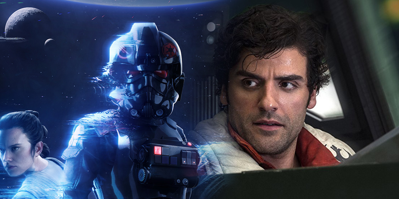 Star Wars Battlefront II art and Oscar Isaac as Poe Dameron in Star Wars: The Last Jedi