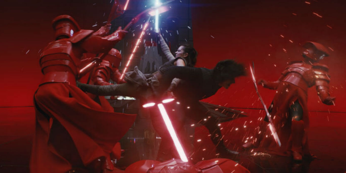 Star Wars: The Last Jedi Rey and Kylo Snoke Throne Room battle (photo: Disney Lucasfilm)