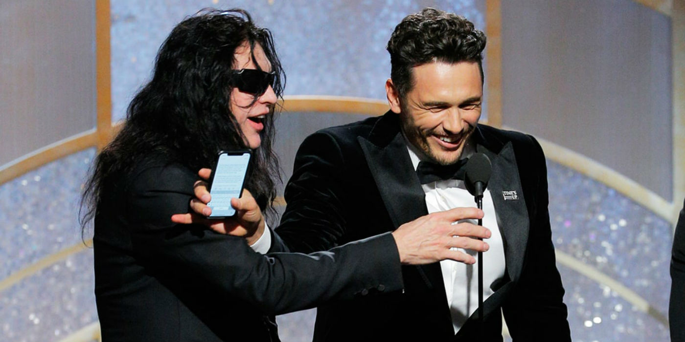 Tommy Wiseau and James Franco at the Golden Globes (NBC image)