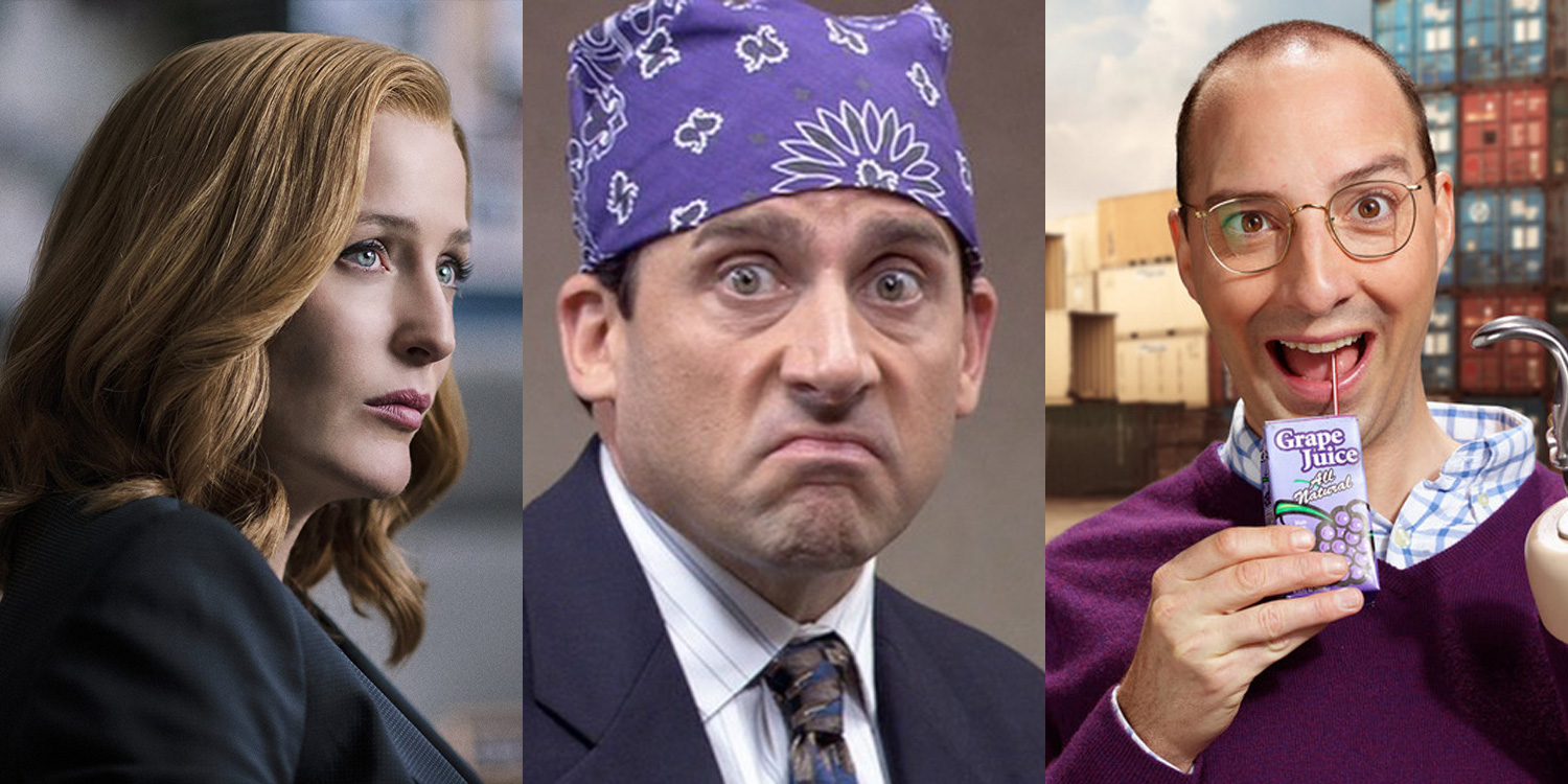 Gillian Anderson as Dana Scully in The X-Files, Steve Carell as Michael Scott in The Office, Tony Hale as Buster Bluth in Arrested Development