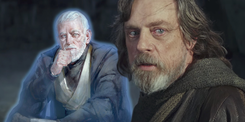 Luke Skywalker in Star Wars The Last Jedi with Obi-Wan Kenobi Force Ghost