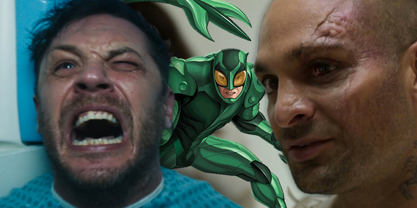 Michael Mando as Scorpion and Tom Hardy as Venom