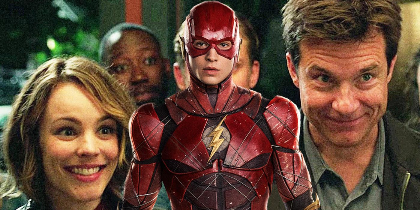 Ezra Miller as The Flash, Jason Bateman and Rachel McAdams in Game Night