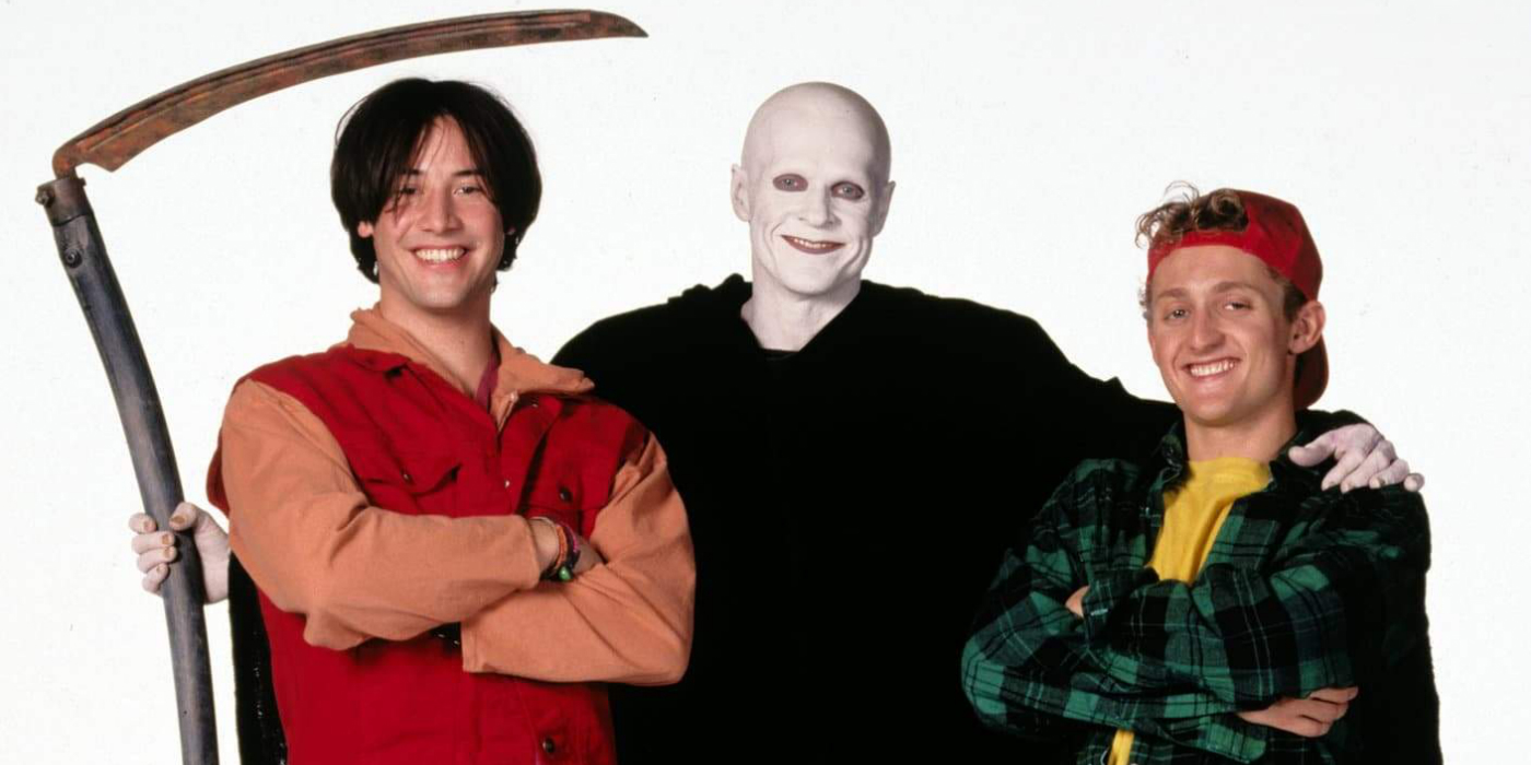 Keanu Reeves, William Sadler and Alex Winter in Bill and Ted.