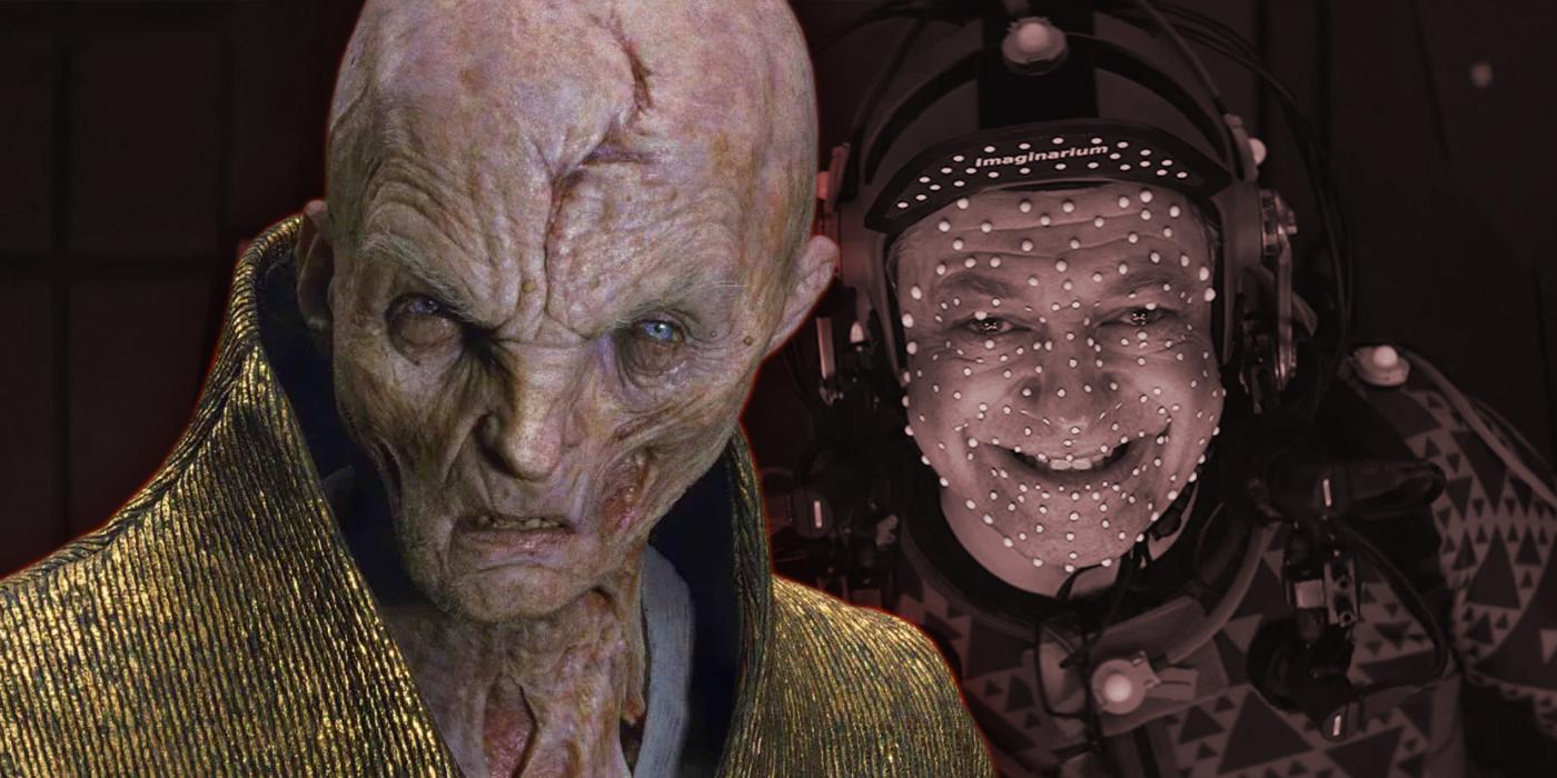 Andy Serkis as Snoke in Star Wars The Last Jedi