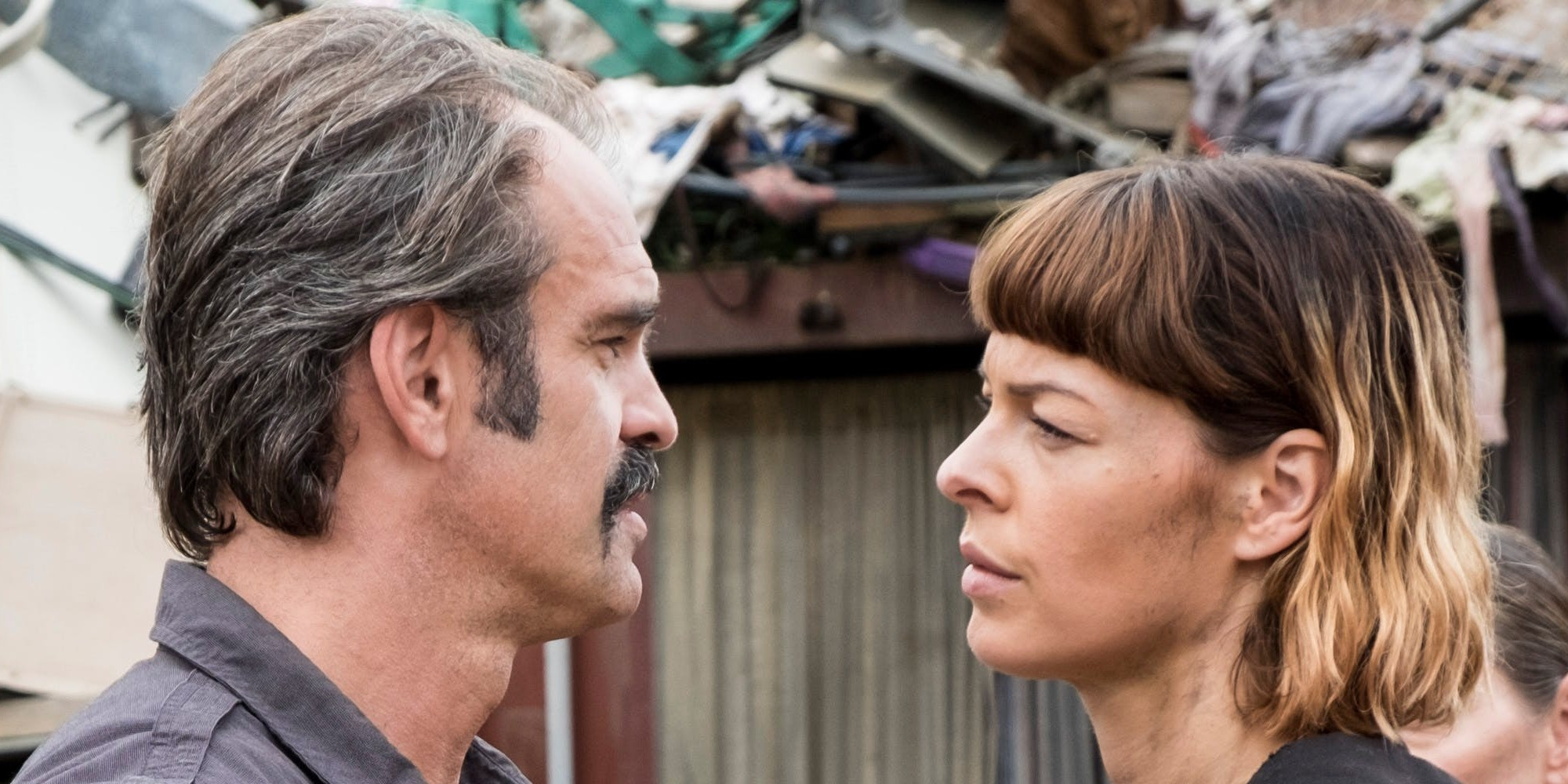 Steven Ogg as Simon and Pollyanna Macintosh as Jadis in The Walking Dead