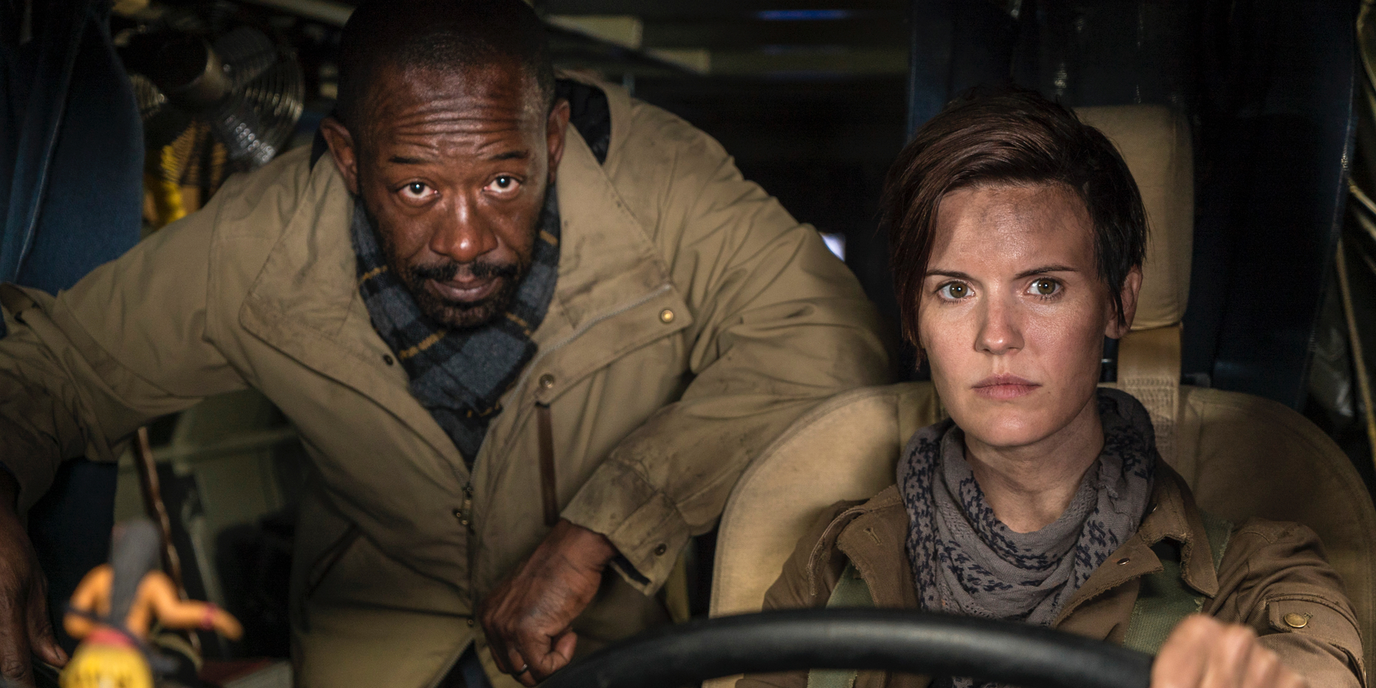 Lennie James and Maggie Grace in Fear the Walking Dead Season 4