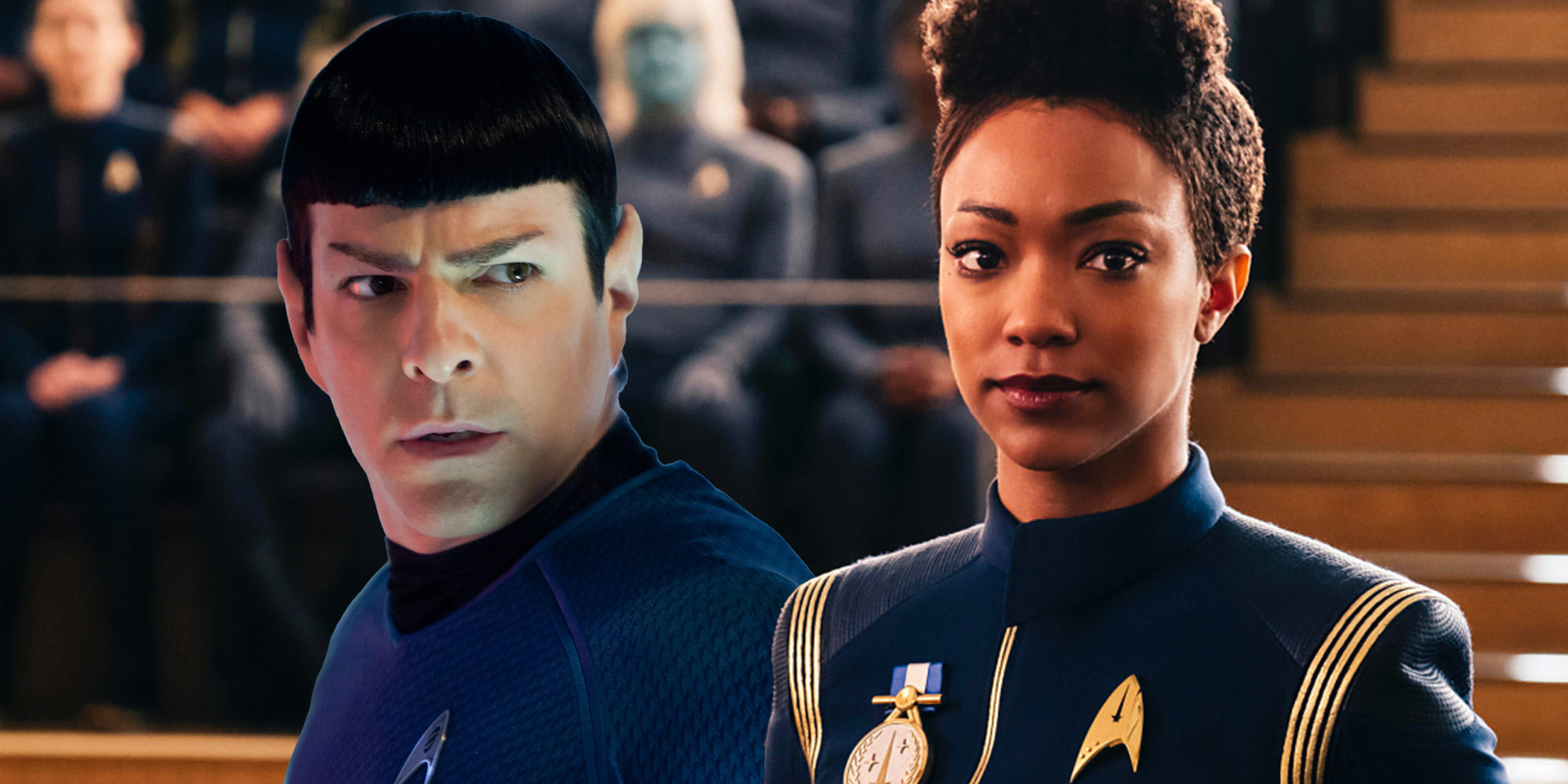 Zachary Quinto and Sonequa Martin-Green in Star Trek