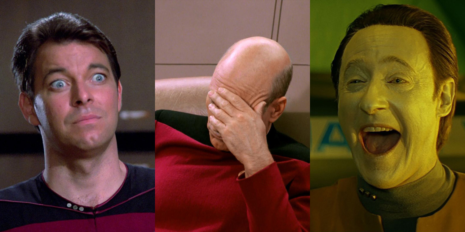 Jonathan Frakes as Riker, Patrick Stewart as Picard, and Brent Spiner as Data in Star Trek: The Next Generation
