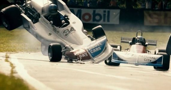 A collision in Ron Howards biopic Rush Rush Trailer #3: Lies & Death on the Formula One Racetrack