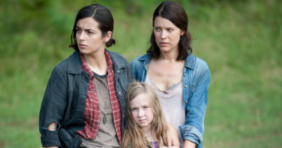 Alana Masterson Audrey Marie Anderson and Meyrick Murphy in The Walking Dead Season 4 Episode 7 The Walking Dead: Where Theres a Tank, Theres a Way