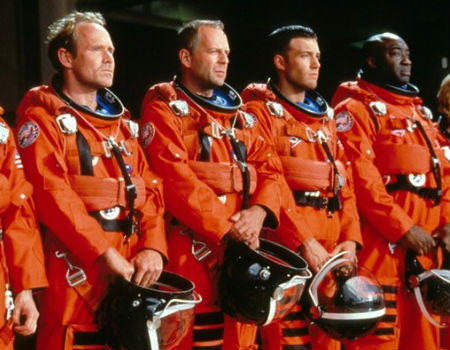 Bruce Willis and his crew in Armageddon
