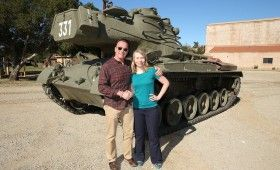 Arnold Schwarzenegger Tank Ride Interview Amy Poses with Arnold 280x170 The Last Stand Interview: Arnold Schwarzenegger Takes Us on a Tank Ride